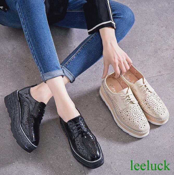 British pour femme en cuir véritable Creepers à lacets compensées ajourées Chaussures NOUVEAU