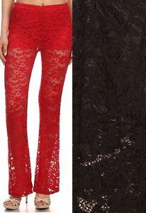 Black-Gorgeous-Stretch-Lace-Flare-Leg-Long-Pants-Shorts-Lining