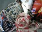 Women Rural Rose Flowers Cotton Linen Blend Tassel Fringed Long Scarf Wrap Shawl