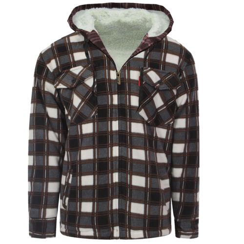 Uomo Camicia imbottita pelliccia con Lumberjack Flanella Lavoro Giacca Warm Thick Top Casual