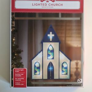 Details About Large Outdoor Lighted Christmas Church Yard Lawn Home Window Display Decoration