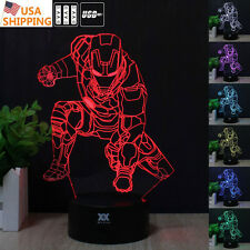 Marvel Superhero Iron Man 3D Acrylic LED Night Light Touch Desk Table Art Lamp