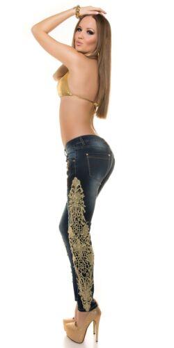 Koucla Jeanshose Skinny Jeans Hose  mit  Häkel Spitze und Zips