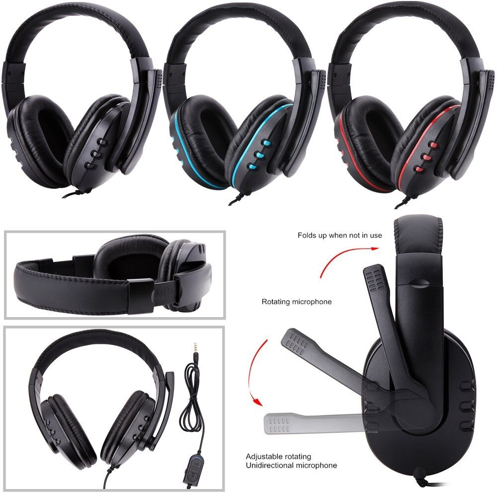 Gaming Headset Stereo Surround Headphone 3.5mm Wired W// Mic For PS4 Xbox ONE PC