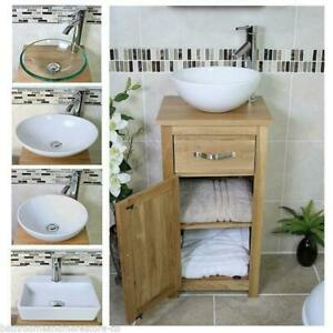 Solid Oak Bathroom Cabinet Compact