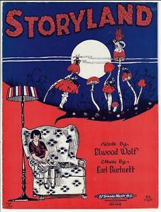 Vintage-Sheet-Music-STORYLAND-1924-Mushrooms-amp-Fairies-ART-DECO-COVER-ART