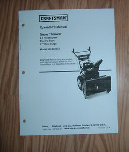 craftsman 536 881851 snow thrower owners manual with illustrated rh ebay co uk craftsman 28 inch snow blower owners manual craftsman 28 inch snow blower owners manual