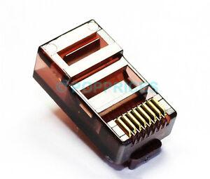 50Pcs-RJ45-CAT5e-CAT5-Colored-Modular-Plug-Network-Connector-Brown