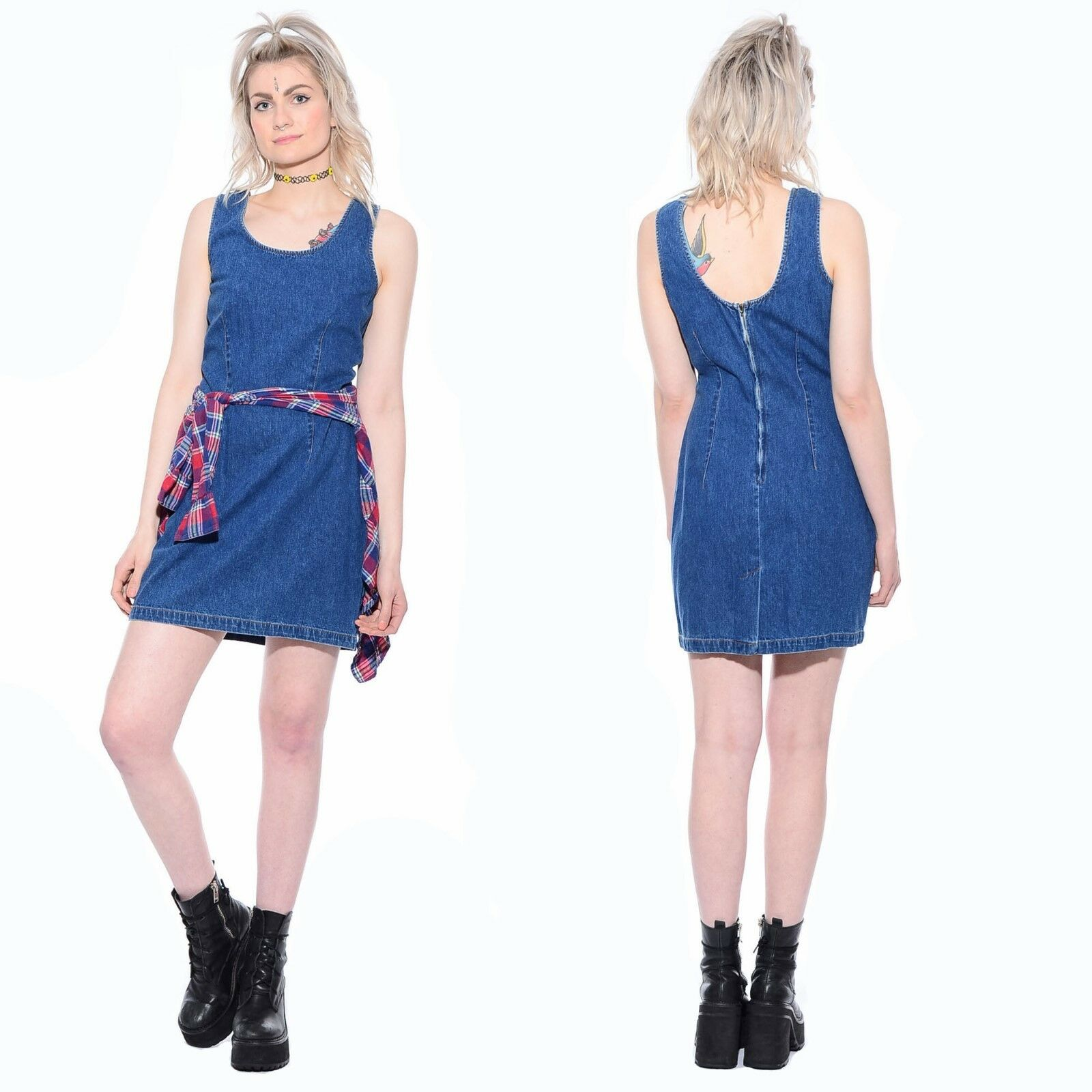 Vintage DENIM Grunge Hip-Hop Schoolgirl Clueless bluee Jean Jumper Mini Dress M