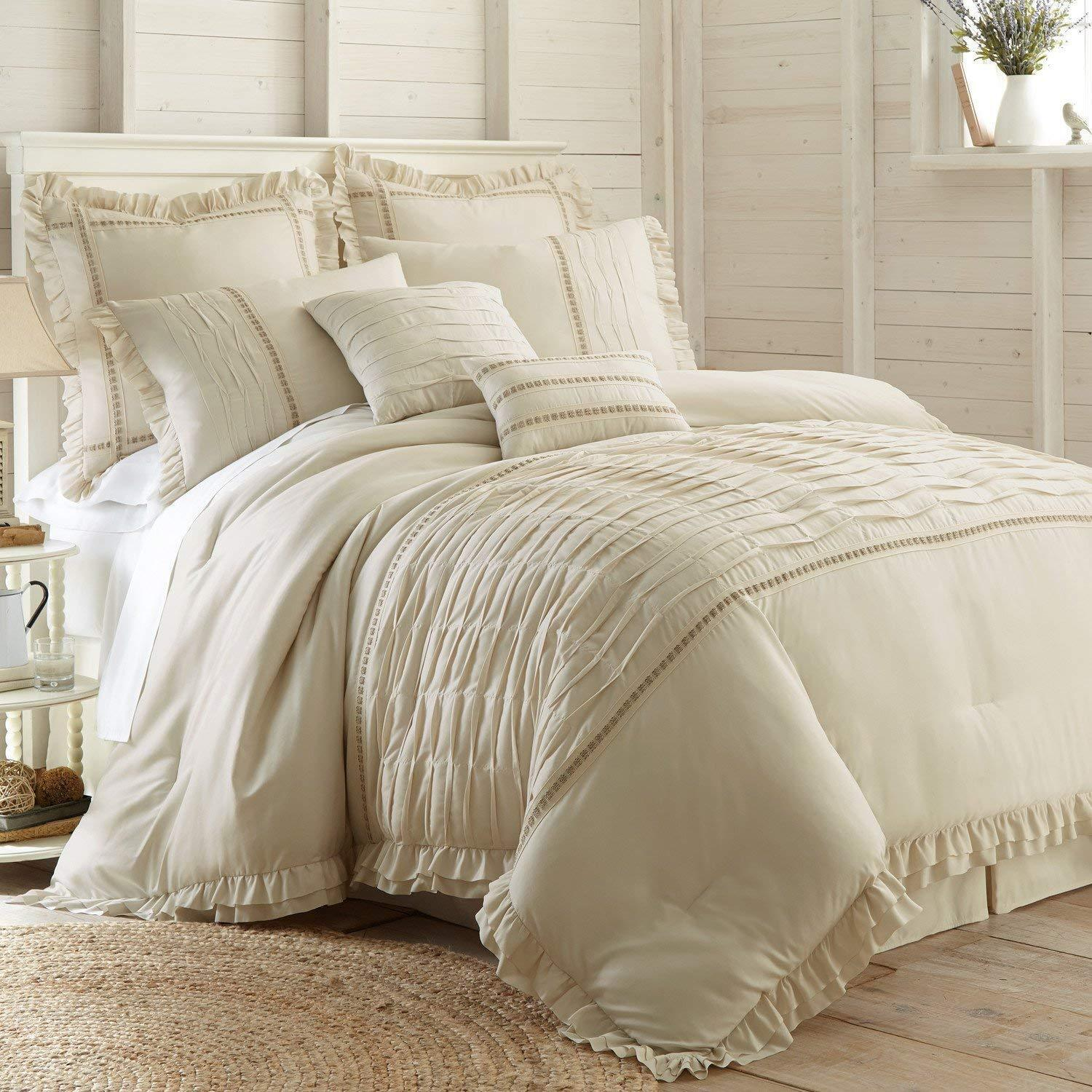 Cal King Comforter Set 8PC Country Cottage Ruffled Embroidered Beige Bedskirt