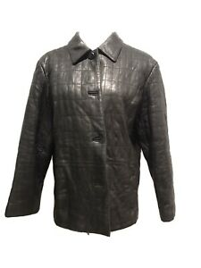 Preston-amp-York-LAMB-skin-BLACK-Leather-Jacket-womens-XL-ZIPPER-Pockets-Lined