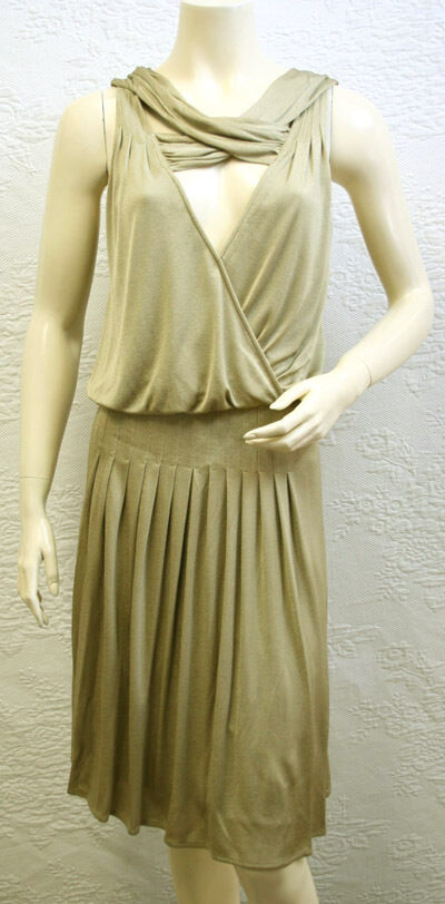 BCBG  MAX AZRIA  gold  (LZJ64135) SLEEVELESS DRESS NWT XXS