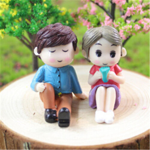 2X//Set Mini Couples Doll Fairy Garden Miniature Decor Dollhouse Action Figures T