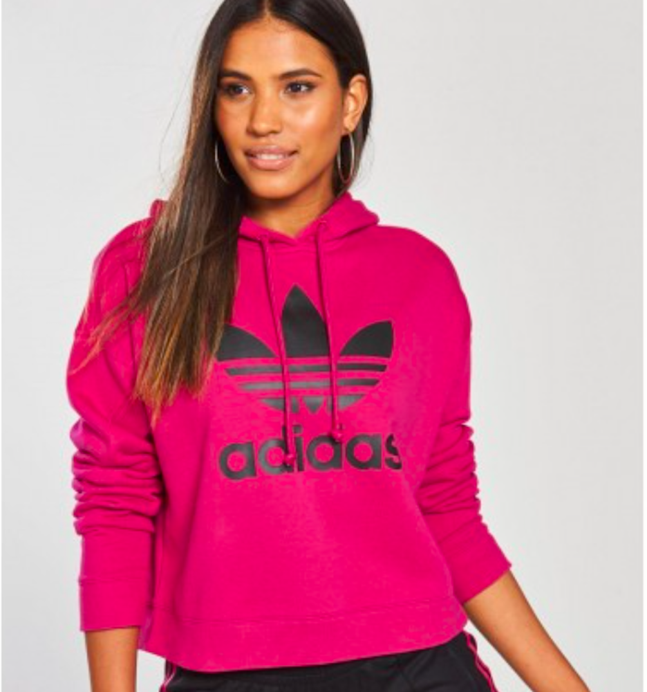 adidas Originals Women's Leoflage Cropped Trefoil Hoodie Small #dx4301
