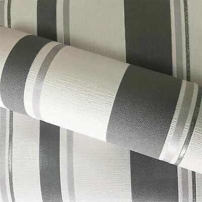 Charcoal Ombre Stripe Wallpaper Silver Metallic Superior Wallcoverings