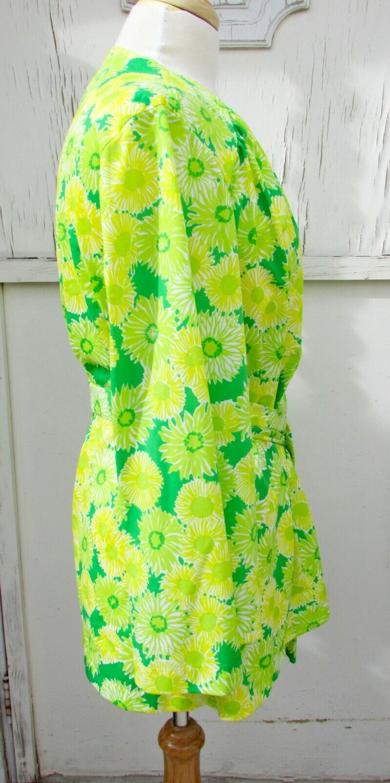 GREEN NEON VTG 70's Swimwear Cover Up-Perfection … - image 4