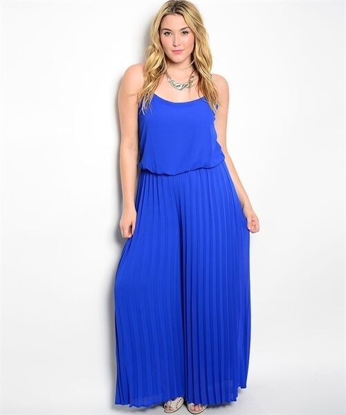 Sexy bluee Party Cruise Maxi Romper Jumpsuit Plus Size XL 2XL