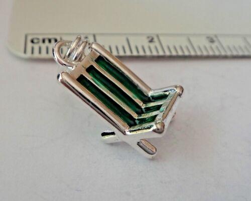 Sterling Silver 3D 15x8mm vert émail plage chaise de jardin charme