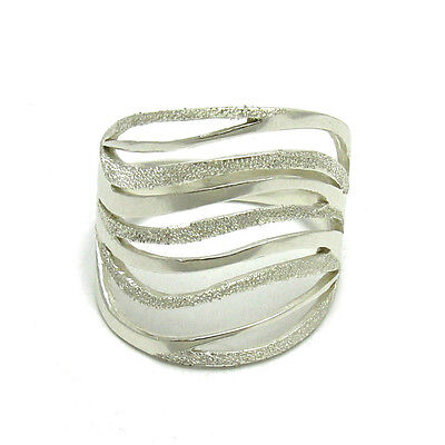 R001455 STYLISH STERLING SILVER RING WAVE SOLID 925 LASER FINISHED