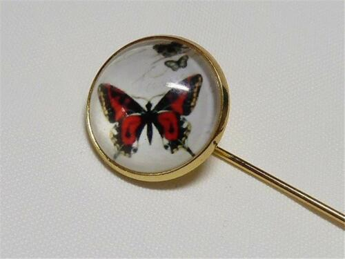 BUTTERFLY W2214...GOLD PLATED TIE PIN FREE UK P/&P GIFT BAG