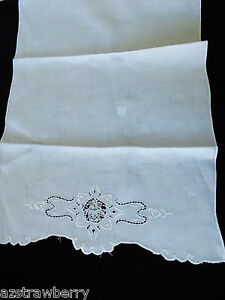 VTG Madeira style Hand made Linen Embroidery towel Cloth Placemat doily runner