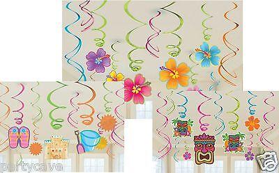 55cm Hawaiian Decoration Party Birthday Decoration 12 Tiki Luau Hanging Swirls
