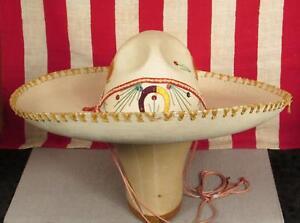 915e7ec6606 Image is loading Vintage-Antique-Mexican-Sombrero-de-Calidad-Western-Charro-