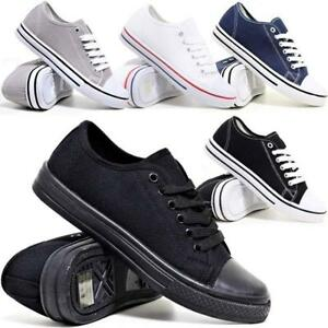 Mens-Lace-Up-Casual-Canvas-Shoes-Plimsolls-Pumps-Skates-Trainers-Size-7-12-New
