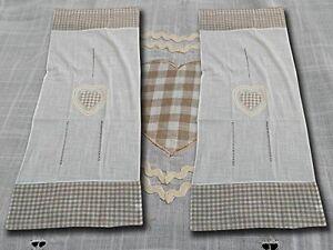 Coppia di Tendine Tirolese in Misto Lino con Cuoricino Ricamato | eBay