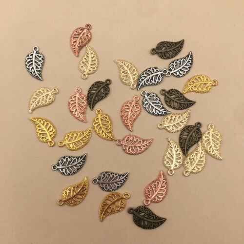 Metal Leaf Mixed Charms Pendants Retro Bracelet Necklace DIY Jewelry Decor Gifts