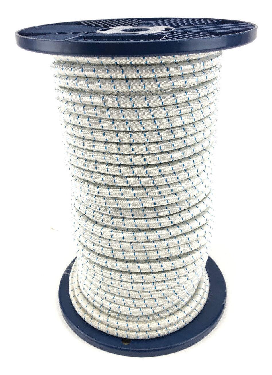 10mm X 80 Meter Gummizug Seil Weiiß mit Blau Flecken Krawatte Unten