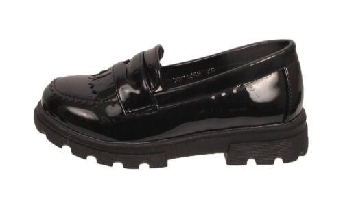 Girls Black School Shoes Slip On Loafer Comfortable Flats Infant Kids Shoe Sizes