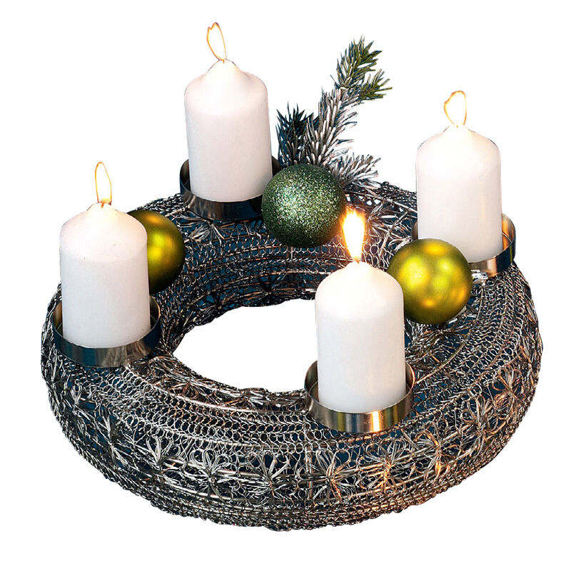 Adventskranz Metall Gold, sehr edel (H8244) Adventsdeko Adventsdeko Adventsdeko Weihnachtsdeko Kranz 93f236