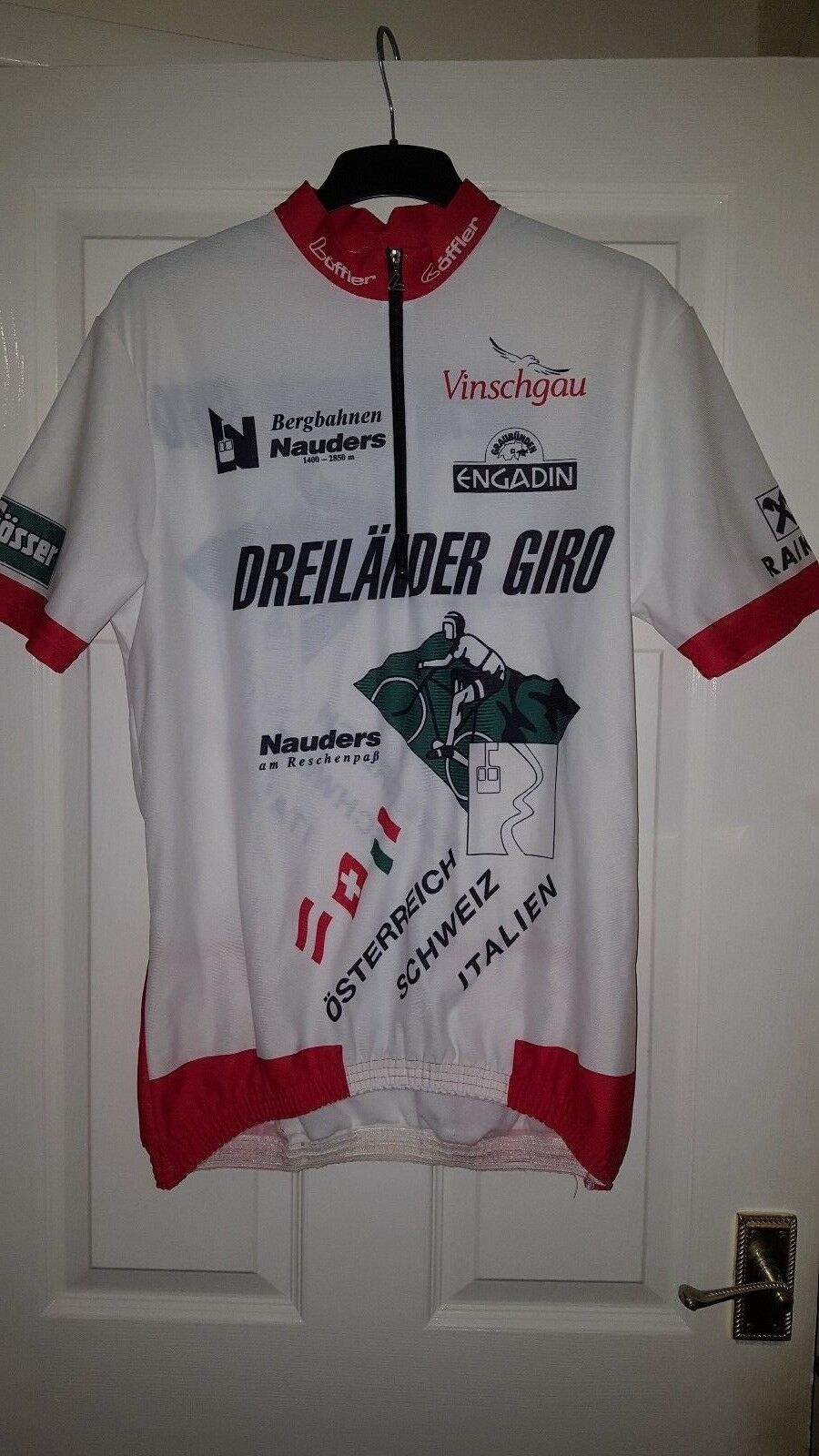 Mens Cycling Jersey Shirt - Loffler - White With Red - Short Sleeve