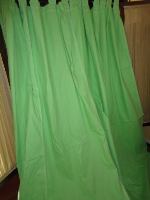 POTTERY BARN TEEN BRIGHT GREEN CANVAS (PAIR) TAB TOP PANELS CURTAINS 52 X 96