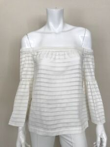 BCBGMAXAZRIA-New-White-Off-the-Shoulder-Striped-Chiffon-Top-w-Bell-Sleeves-NWT