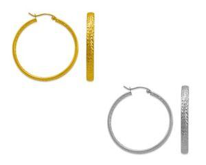 14K-Solid-Yellow-White-Gold-3-8mm-Tube-Hoop-Earrings-Women-Fashion-Big-Hoops