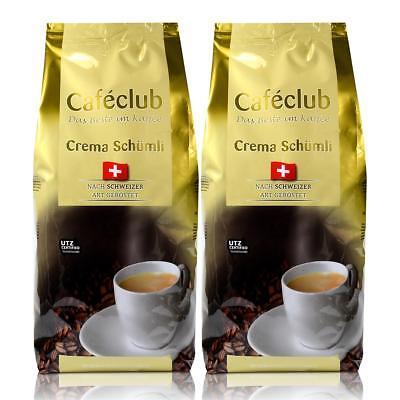 2x Cafeclub Supercreme Schweizer Schümli Kaffeebohnen 1 Kg Für Kaffeevollautomat