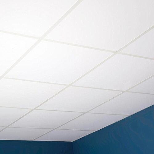 Suspended Vinyl Ceiling Wipeable EasyClean Tiles Satin Spar 595*595 Fire Rated