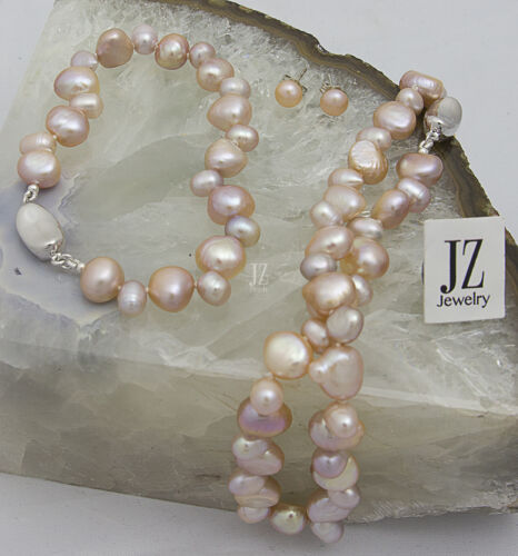 Details about  /Freshwater Peach//Pink Pearl Bracelet with Sterling Silver Crystal Heart Clasp.