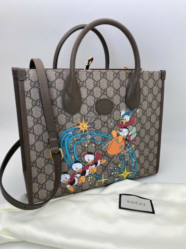 Gucci Donald Duck Tote Bag Beige Canvas GG For Wom