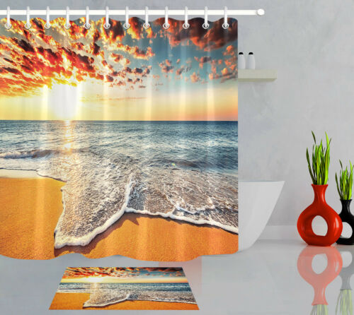 Tropical Ocean Beach Shower Curtain Set Waterproof Fabric Bathroom w//12 Hooks