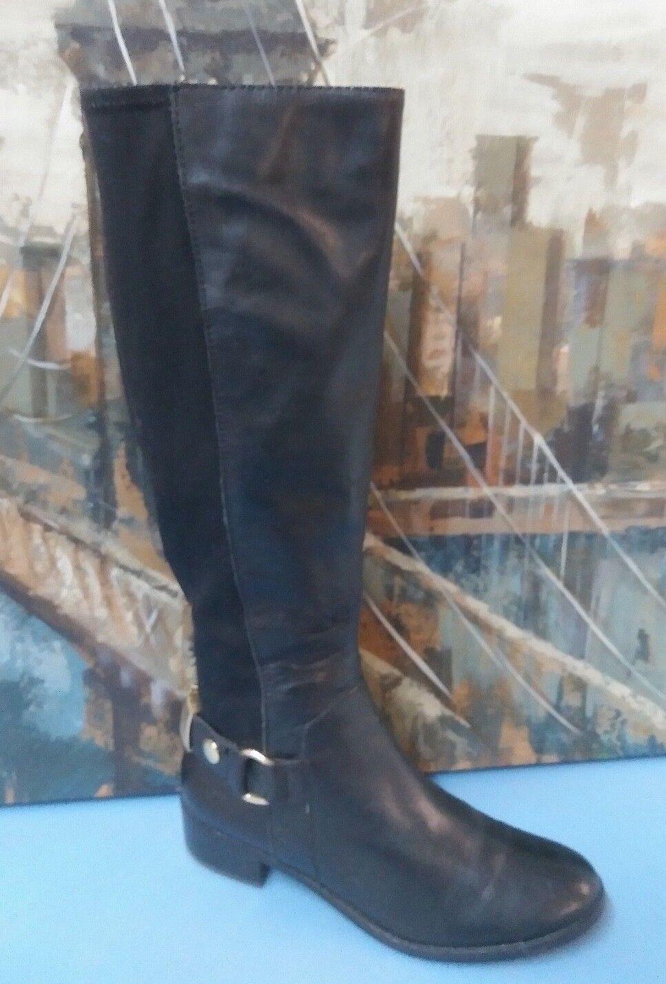Steve Madden REGGIEE schwarz Leder Fabric Knee-High zip up Boot gold slides 7.5M