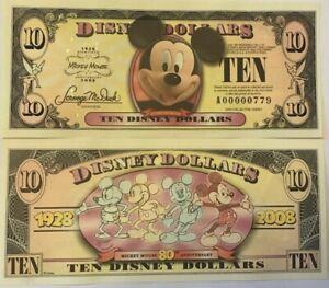 Disneyland-2008-Mickey-Mouse-80th-Disney-Diez-Dolar-Bill-Mint-A00000787