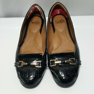 Womens-SOFFT-Black-Patent-Leather-Gold-Chains-Loafers-Flats-Shoes-SIZE-7-M