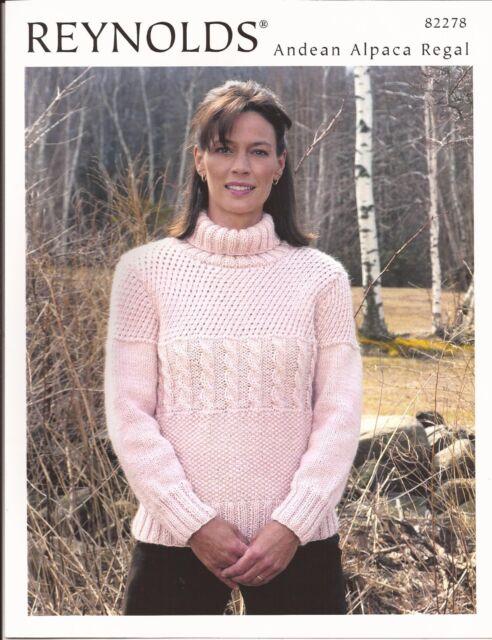 Turtleneck Guernsey Reynolds Knitting Pattern 82278 Womens Sweater