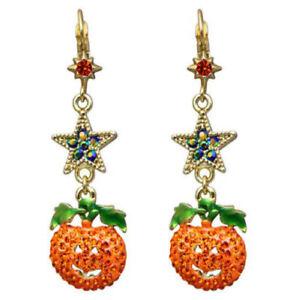 Kirks-Folly-Starry-Night-Pumpkin-Leverback-Earrings-Halloween-Ant-GT