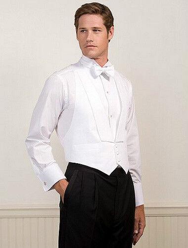 White Pique Full Back Tuxedo Vest with Pique Bow Tie