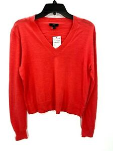 J Crew Womens Rosy Coral Classic V-Neck Cotton Sweater Sz Small NWT