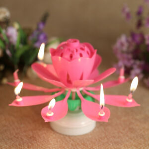 Image Is Loading Lotus Candle Birthday Flower Musical Floral Cake Candles